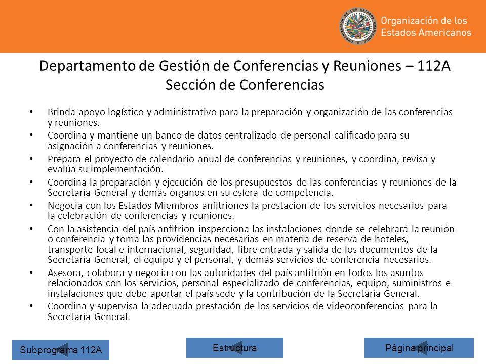Departamento de Gestión de Conferencias y Reuniones – 112A Sección de Conferencias