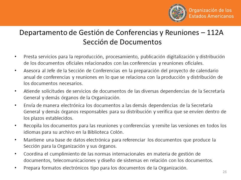 Departamento de Gestión de Conferencias y Reuniones – 112A Sección de Documentos