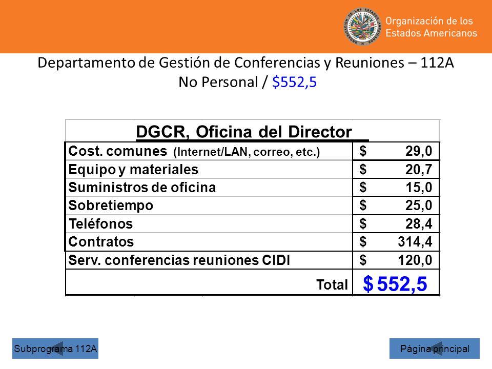 552,5 DGCR, Oficina del Director