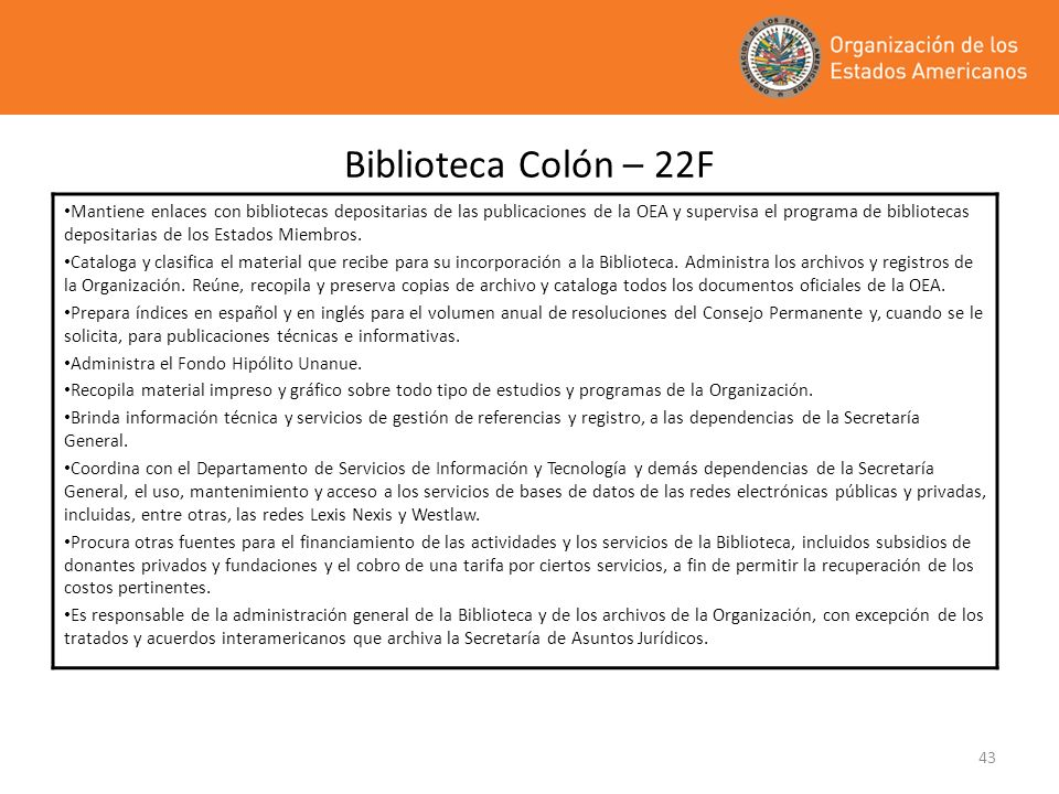 Biblioteca Colón – 22F