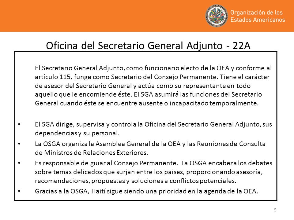 Oficina del Secretario General Adjunto - 22A