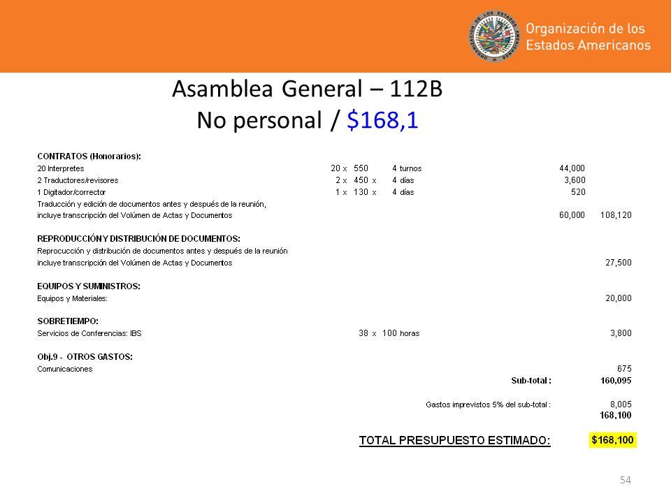 Asamblea General – 112B No personal / $168,1
