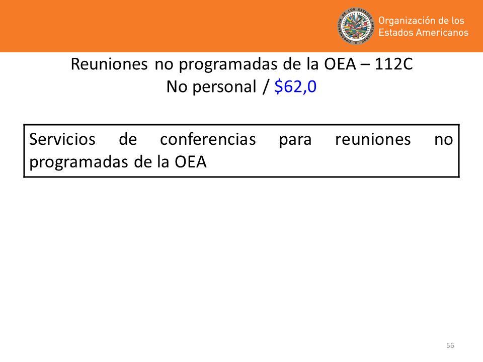 Reuniones no programadas de la OEA – 112C No personal / $62,0