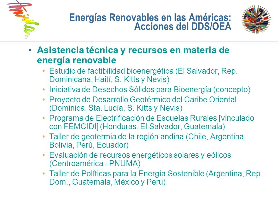 Energías Renovables en las Américas: Acciones del DDS/OEA