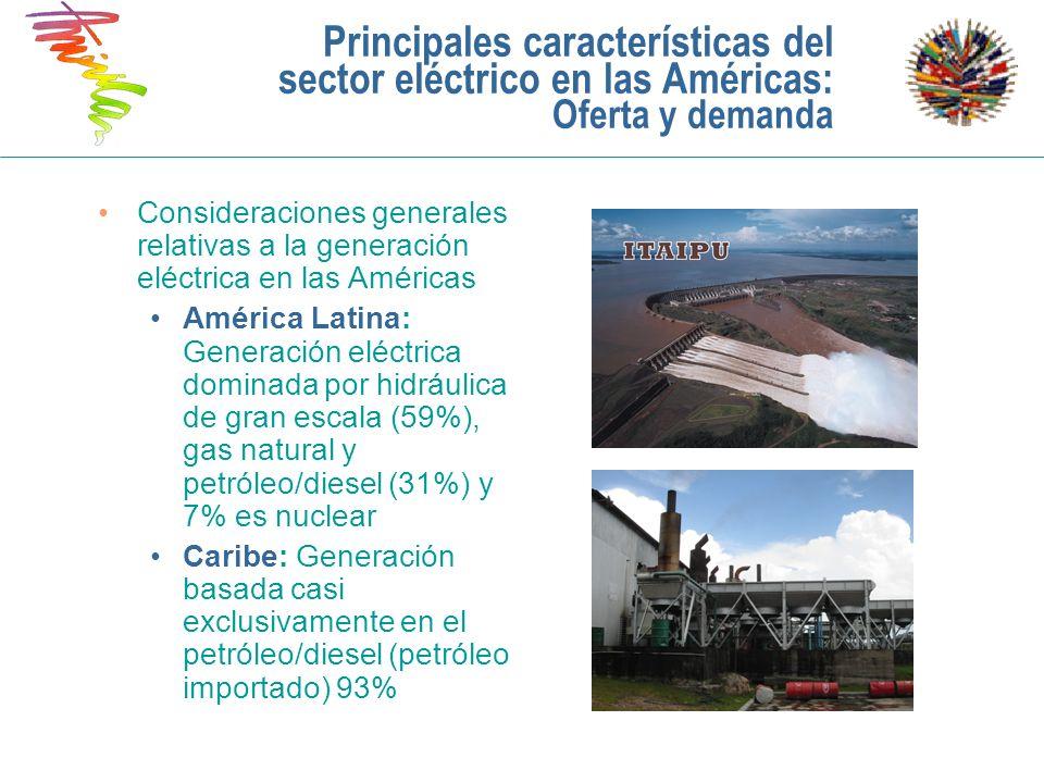Principales características del sector eléctrico en las Américas: Oferta y demanda