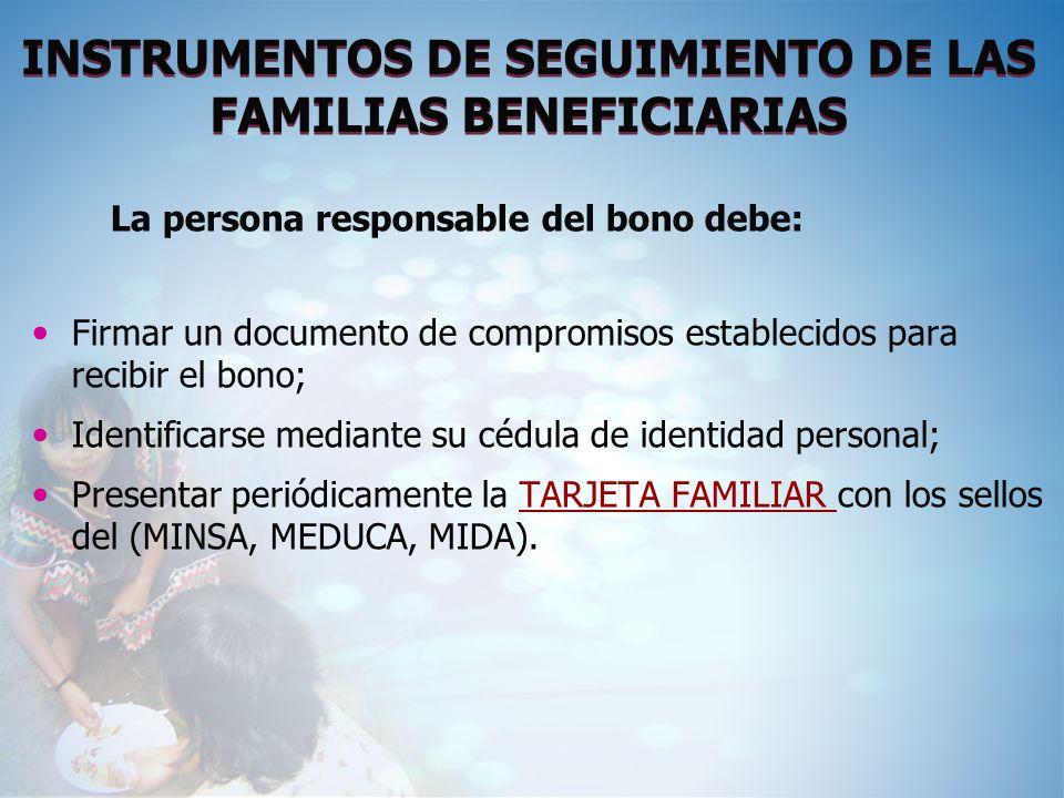 INSTRUMENTOS DE SEGUIMIENTO DE LAS FAMILIAS BENEFICIARIAS