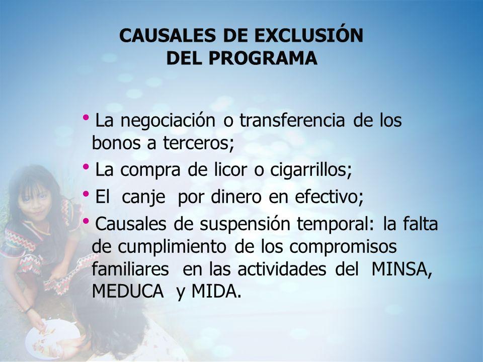CAUSALES DE EXCLUSIÓN DEL PROGRAMA