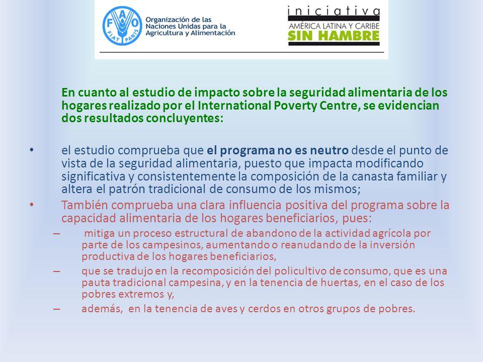 En cuanto al estudio de impacto sobre la seguridad alimentaria de los hogares realizado por el International Poverty Centre, se evidencian dos resultados concluyentes: