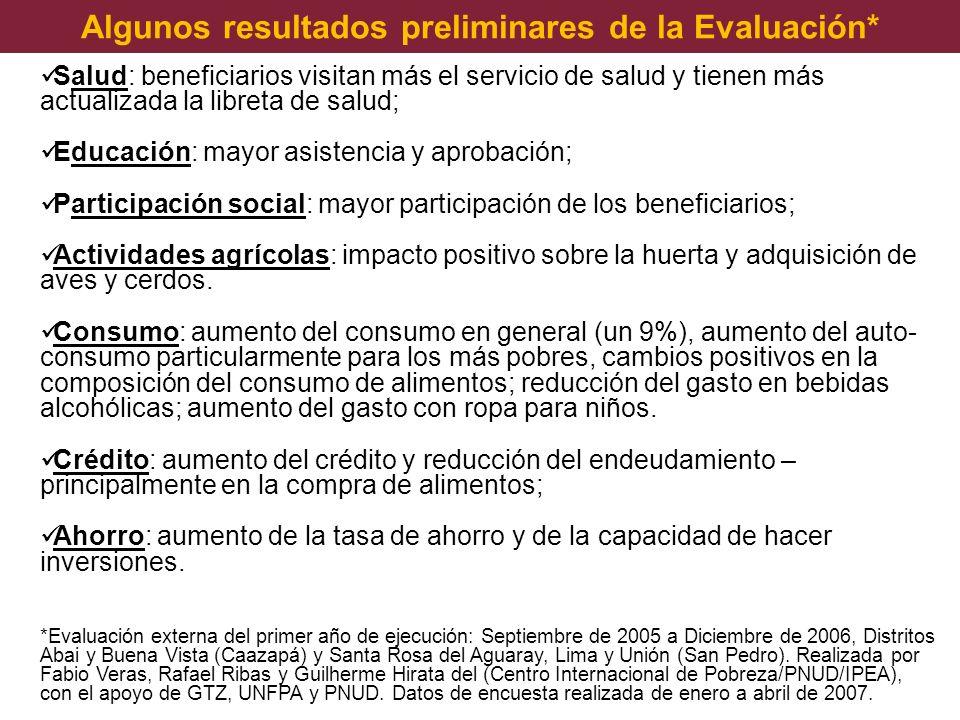 Algunos resultados preliminares de la Evaluación*