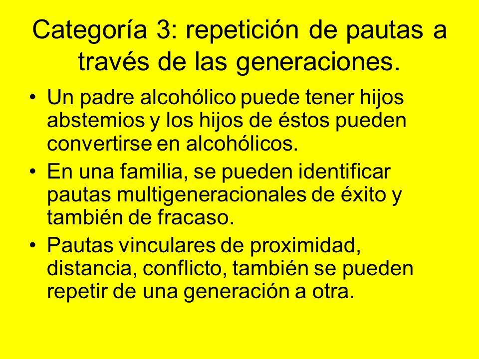 Categoría 3: repetición de pautas a través de las generaciones.