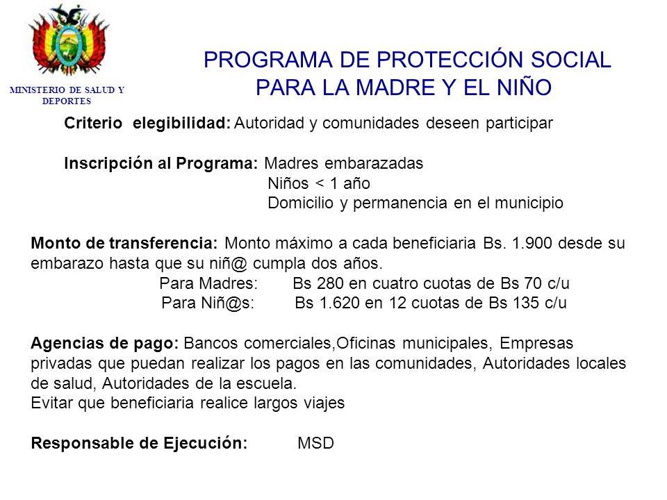 PROGRAMA DE PROTECCIÓN SOCIAL PARA LA MADRE Y EL NIÑO