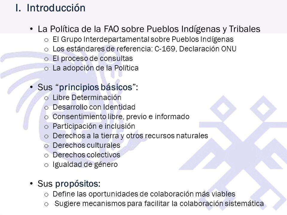 I. Introducción La Política de la FAO sobre Pueblos Indígenas y Tribales. El Grupo Interdepartamental sobre Pueblos Indígenas.