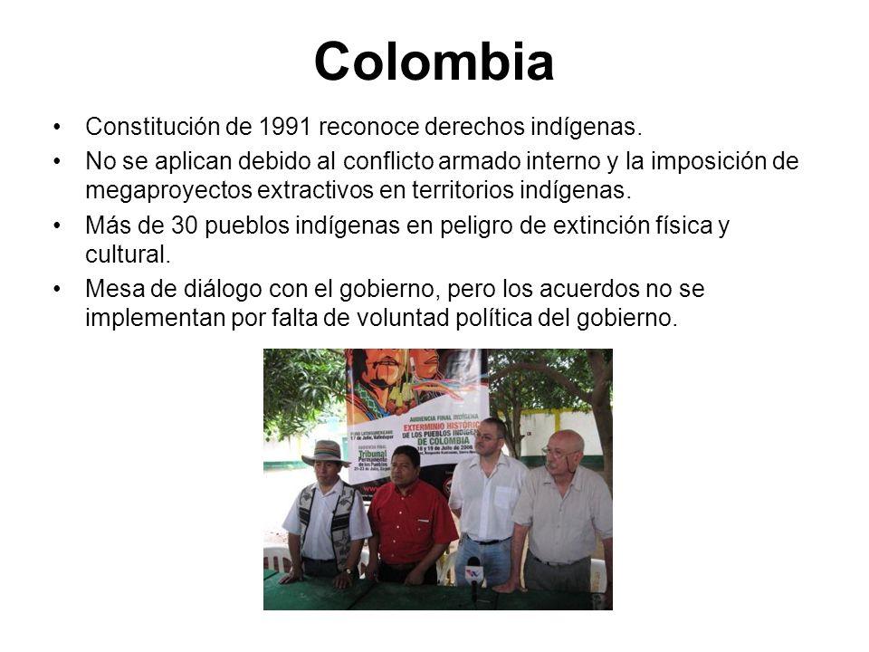 Colombia Constitución de 1991 reconoce derechos indígenas.