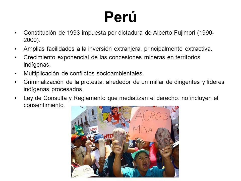 PerúConstitución de 1993 impuesta por dictadura de Alberto Fujimori (1990-2000).