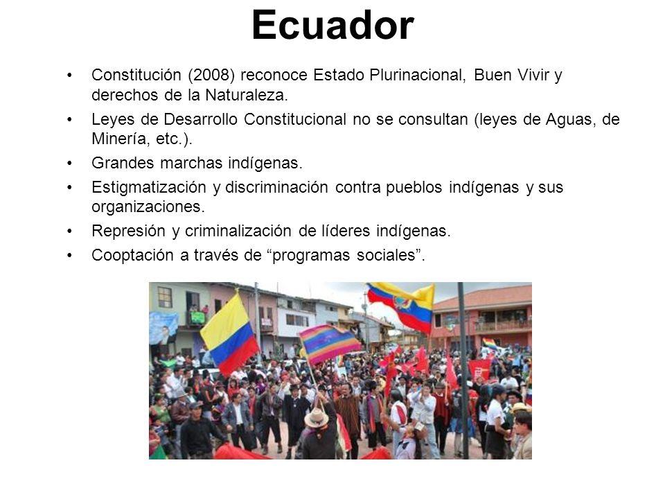 EcuadorConstitución (2008) reconoce Estado Plurinacional, Buen Vivir y derechos de la Naturaleza.