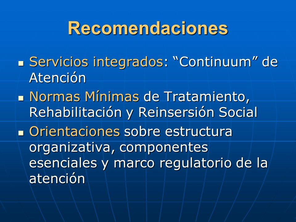 Recomendaciones Servicios integrados: Continuum de Atención