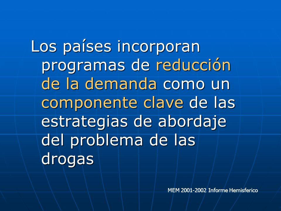 Los países incorporan programas de reducción de la demanda como un componente clave de las estrategias de abordaje del problema de las drogas