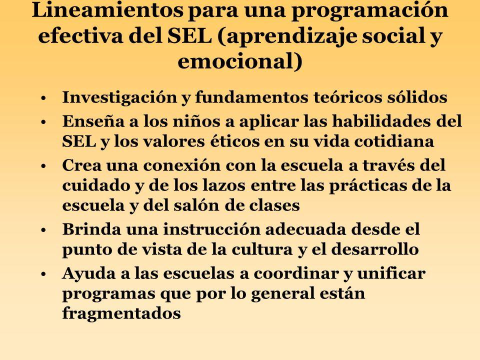 Lineamientos para una programación efectiva del SEL (aprendizaje social y emocional)