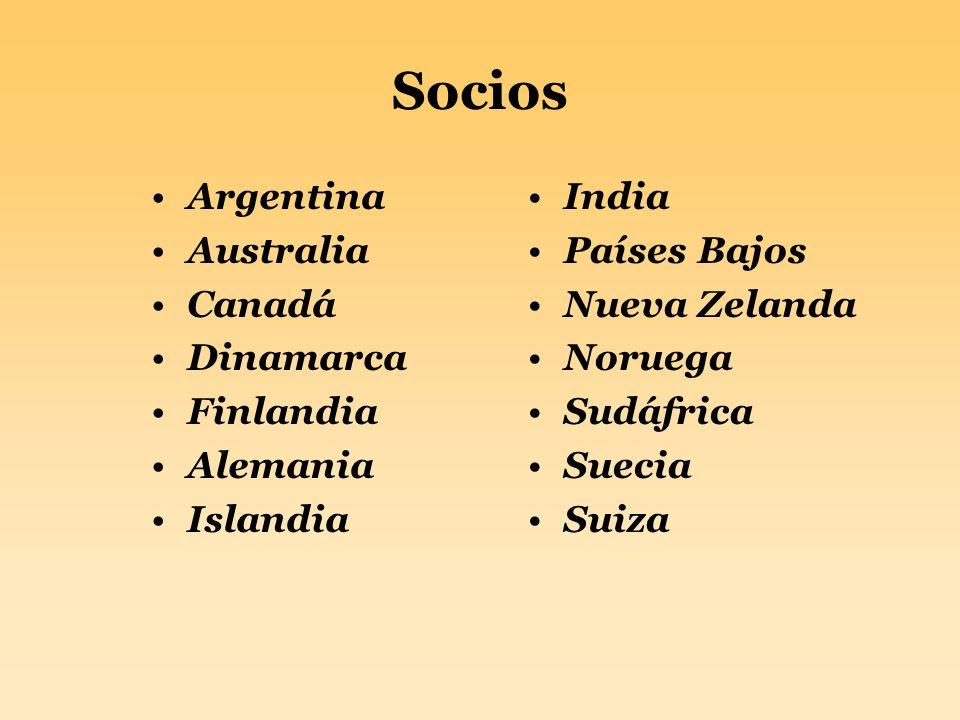 Socios Argentina Australia Canadá Dinamarca Finlandia Alemania