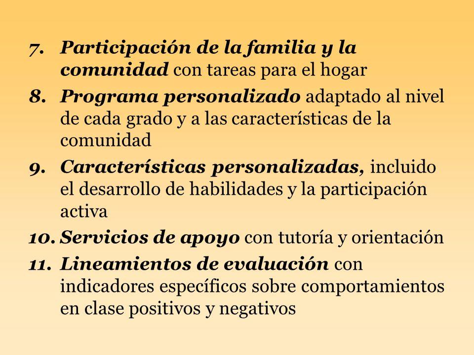 Participación de la familia y la comunidad con tareas para el hogar