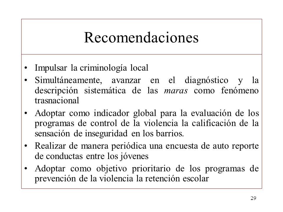 Recomendaciones Impulsar la criminología local