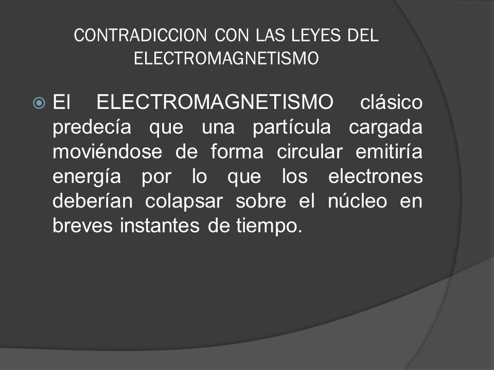 CONTRADICCION CON LAS LEYES DEL ELECTROMAGNETISMO