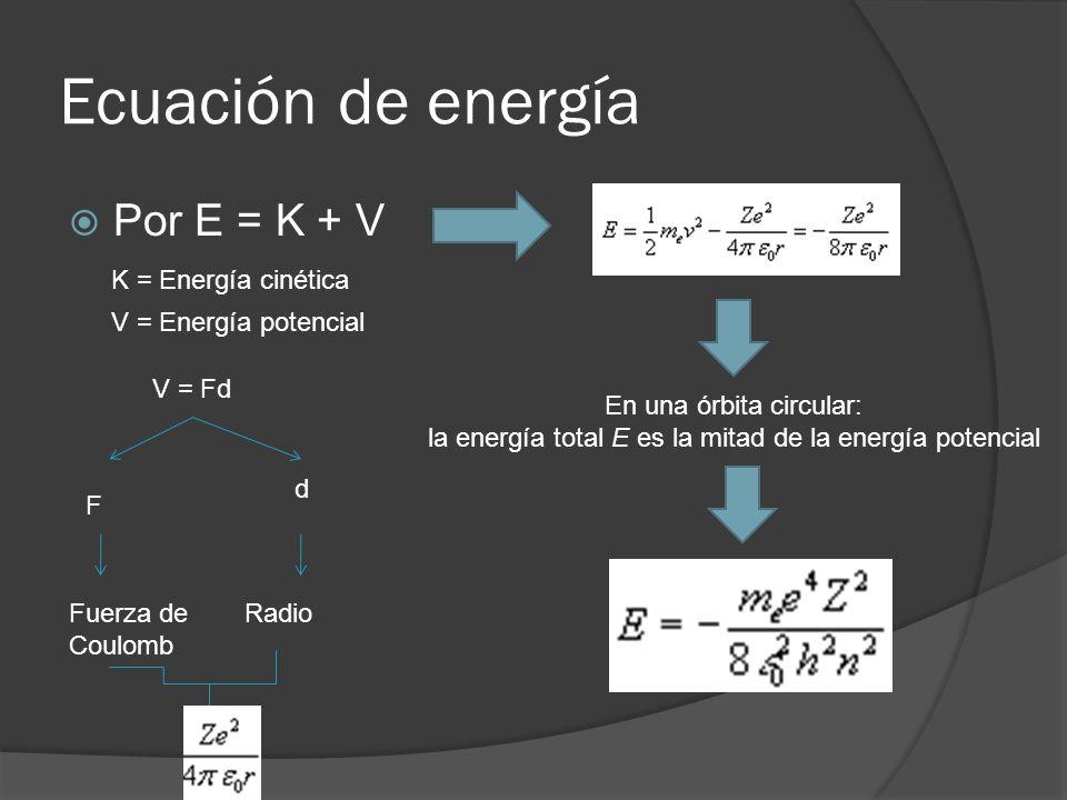 Ecuación de energía Por E = K + V K = Energía cinética