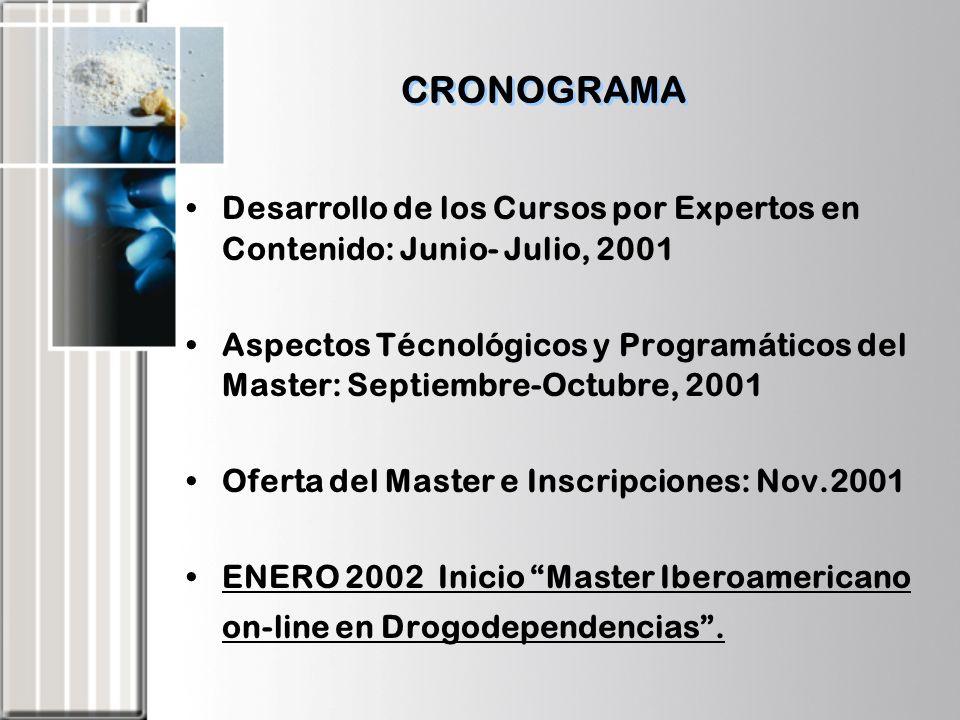 CRONOGRAMA Desarrollo de los Cursos por Expertos en Contenido: Junio- Julio, 2001.