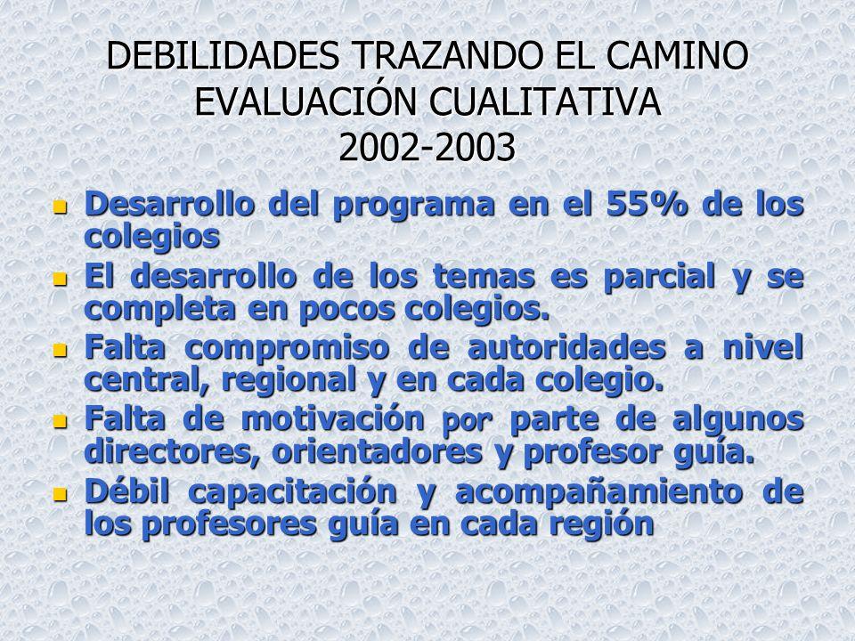 DEBILIDADES TRAZANDO EL CAMINO EVALUACIÓN CUALITATIVA 2002-2003