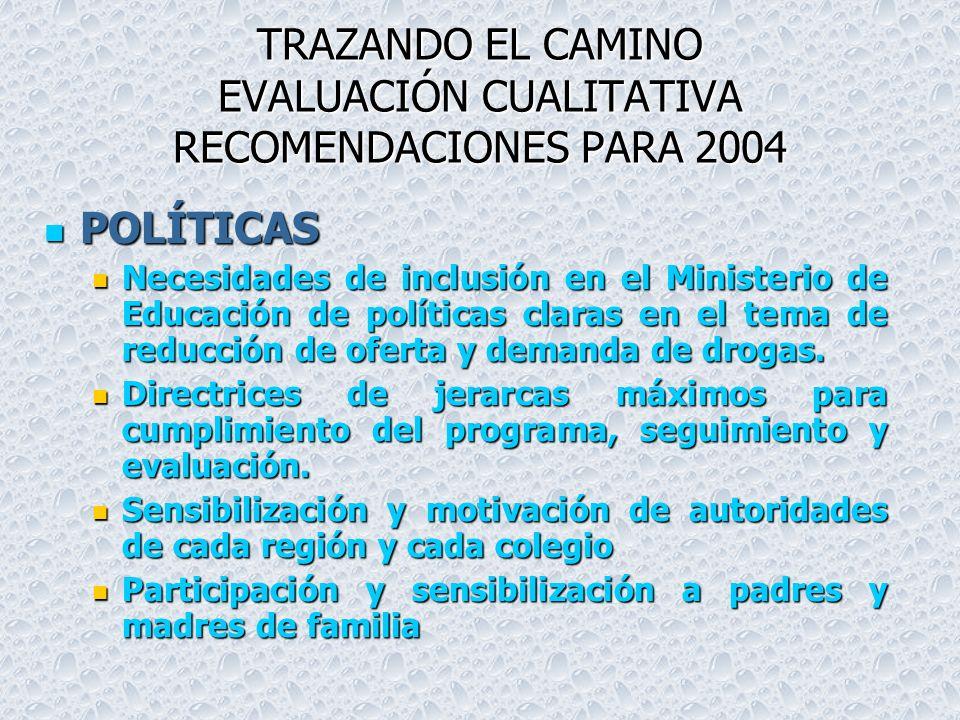 TRAZANDO EL CAMINO EVALUACIÓN CUALITATIVA RECOMENDACIONES PARA 2004