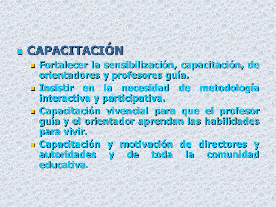 CAPACITACIÓN Fortalecer la sensibilización, capacitación, de orientadores y profesores guía.