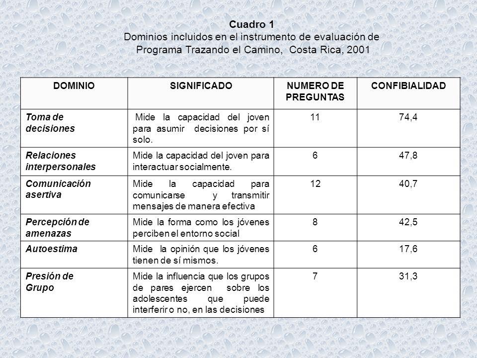 Dominios incluidos en el instrumento de evaluación de