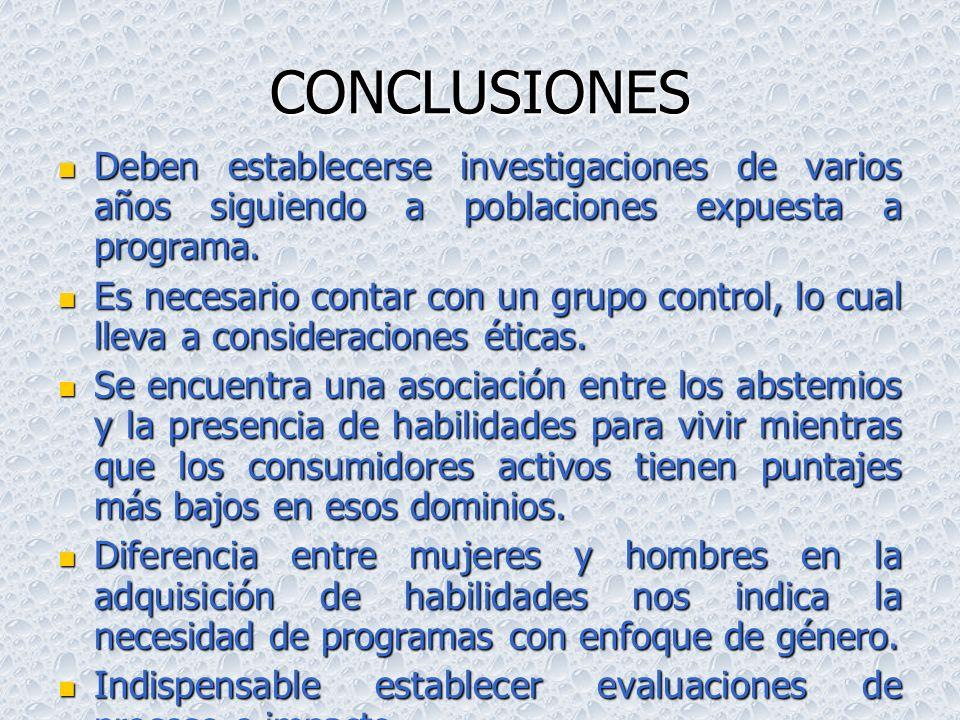 CONCLUSIONESDeben establecerse investigaciones de varios años siguiendo a poblaciones expuesta a programa.