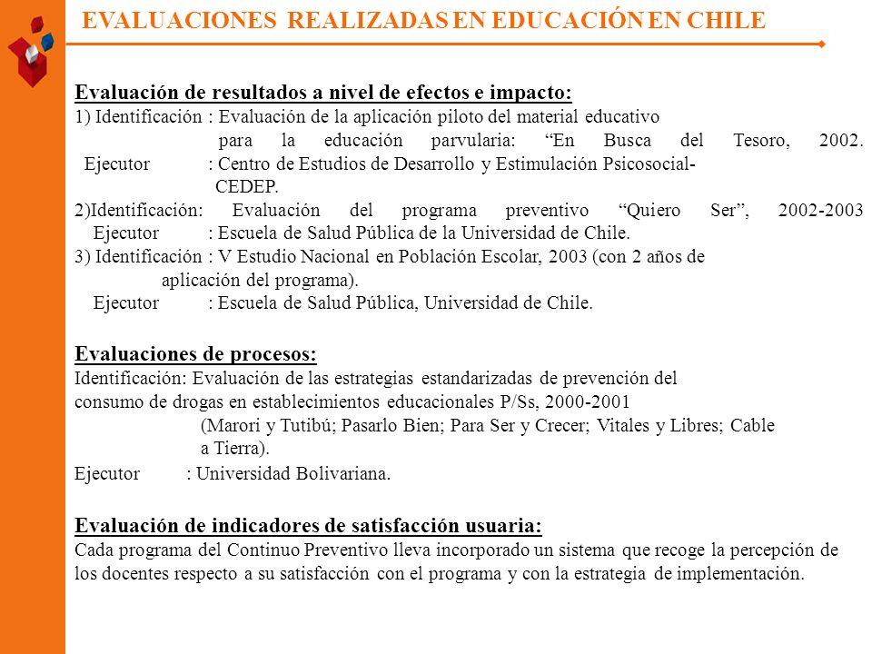 EVALUACIONES REALIZADAS EN EDUCACIÓN EN CHILE