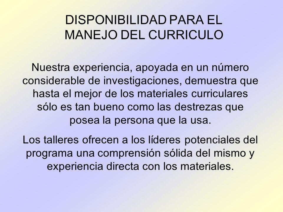 DISPONIBILIDAD PARA EL MANEJO DEL CURRICULO