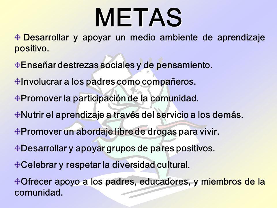 METAS Desarrollar y apoyar un medio ambiente de aprendizaje positivo.