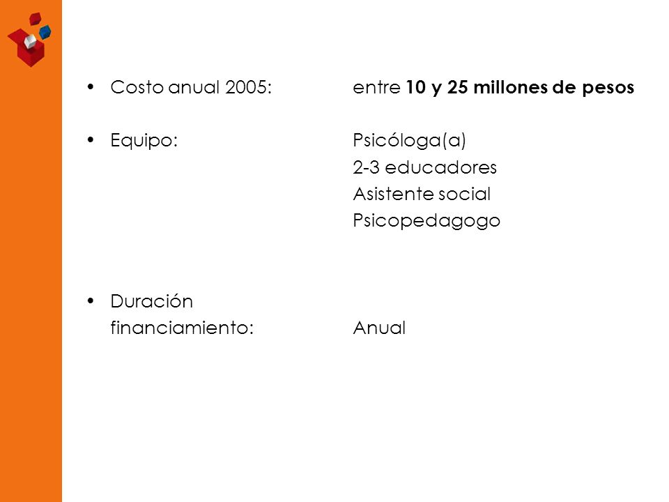 Costo anual 2005: entre 10 y 25 millones de pesos