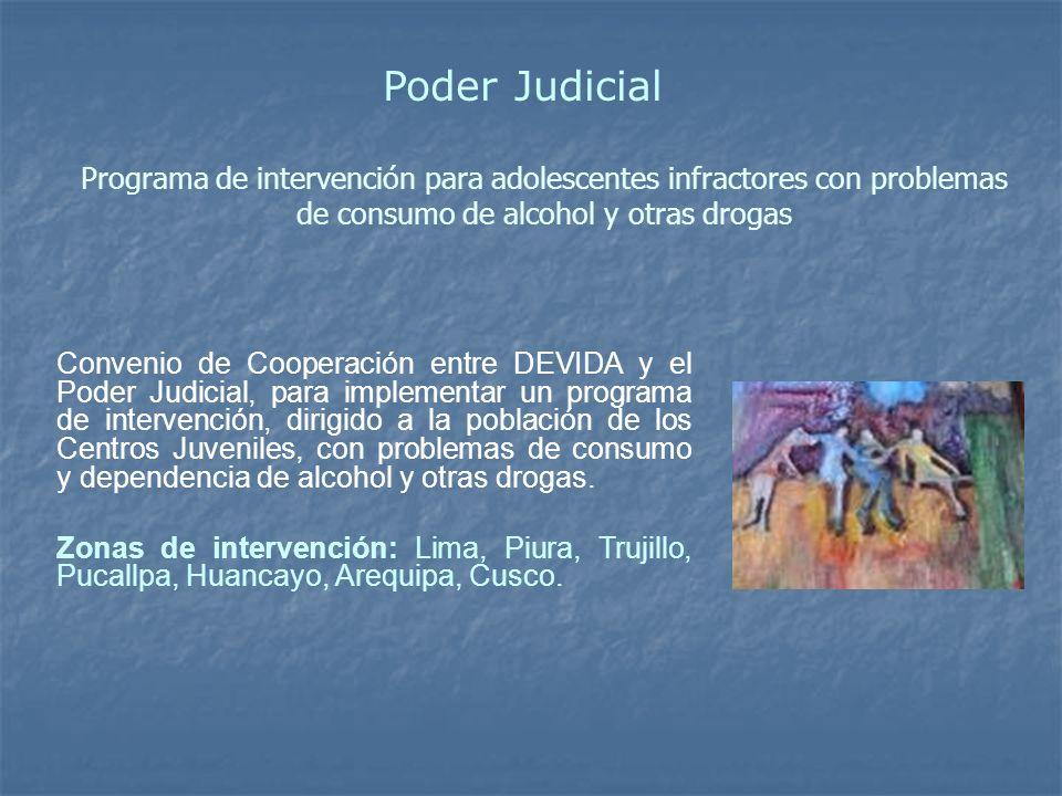 Poder JudicialPrograma de intervención para adolescentes infractores con problemas de consumo de alcohol y otras drogas.