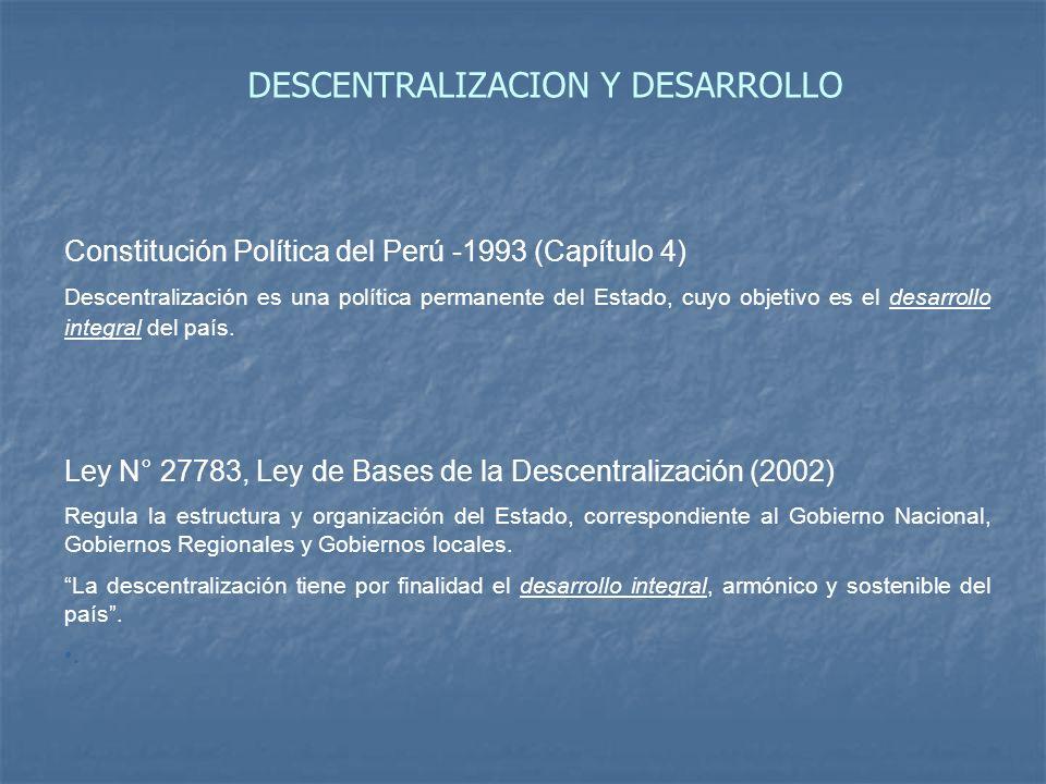 DESCENTRALIZACION Y DESARROLLO