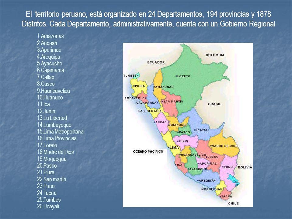 El territorio peruano, está organizado en 24 Departamentos, 194 provincias y 1878 Distritos. Cada Departamento, administrativamente, cuenta con un Gobierno Regional
