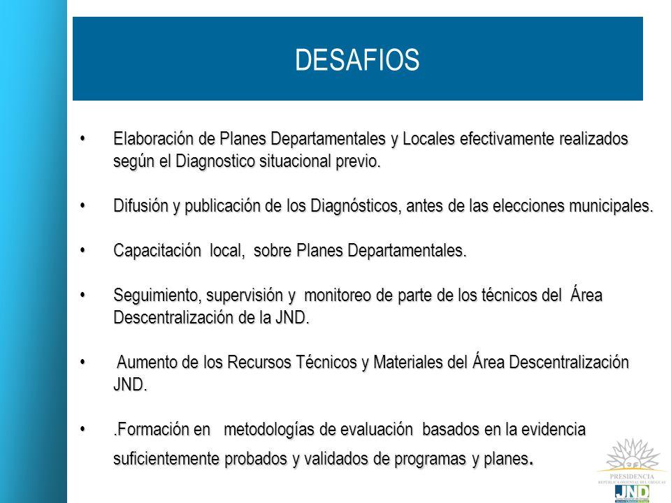 DESAFIOS Elaboración de Planes Departamentales y Locales efectivamente realizados según el Diagnostico situacional previo.