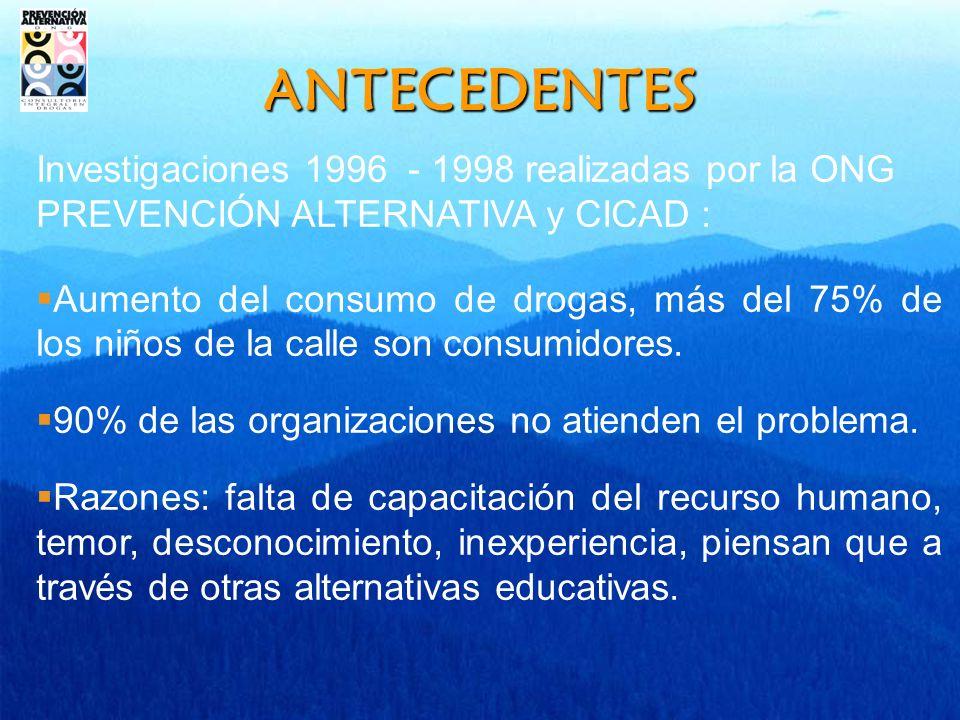 ANTECEDENTES Investigaciones 1996 - 1998 realizadas por la ONG PREVENCIÓN ALTERNATIVA y CICAD :