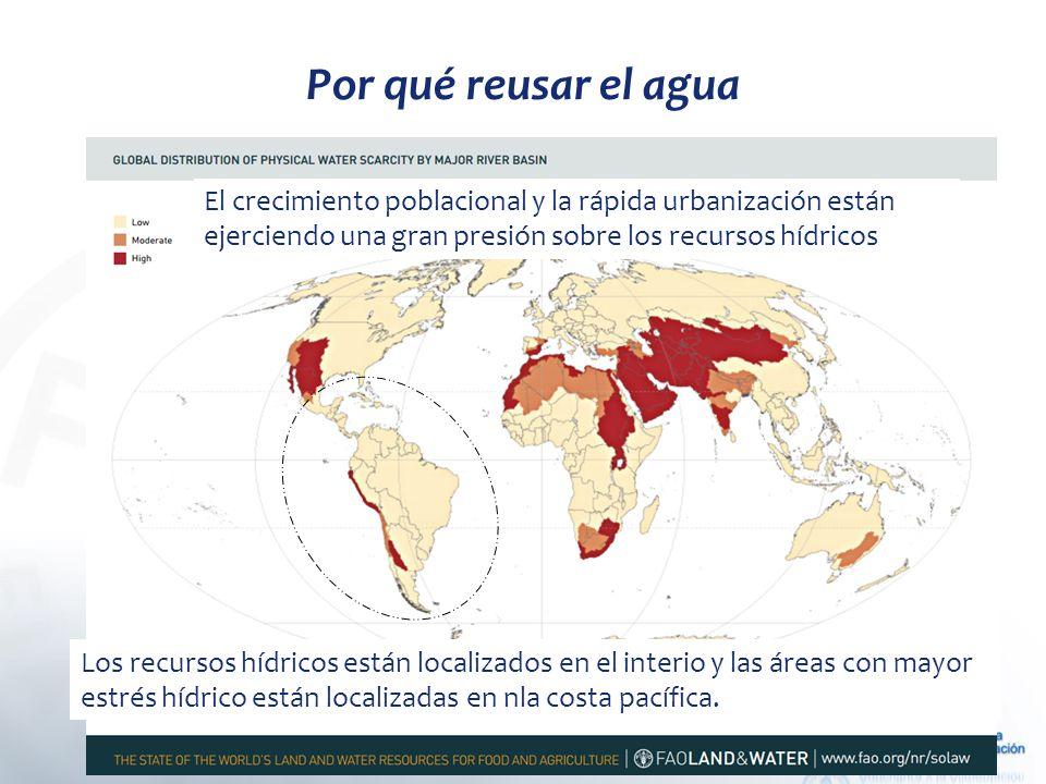 Por qué reusar el agua El crecimiento poblacional y la rápida urbanización están ejerciendo una gran presión sobre los recursos hídricos.