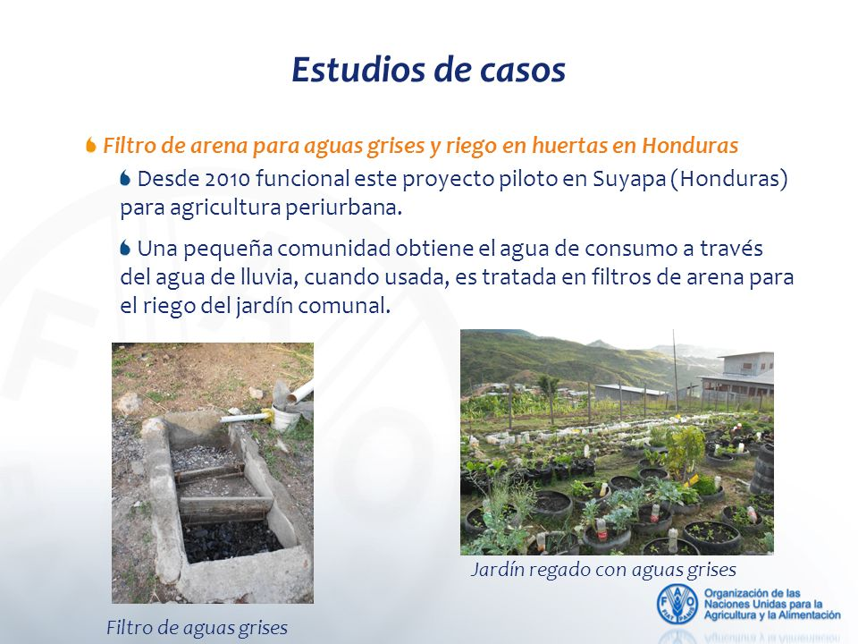 Estudios de casos Filtro de arena para aguas grises y riego en huertas en Honduras.