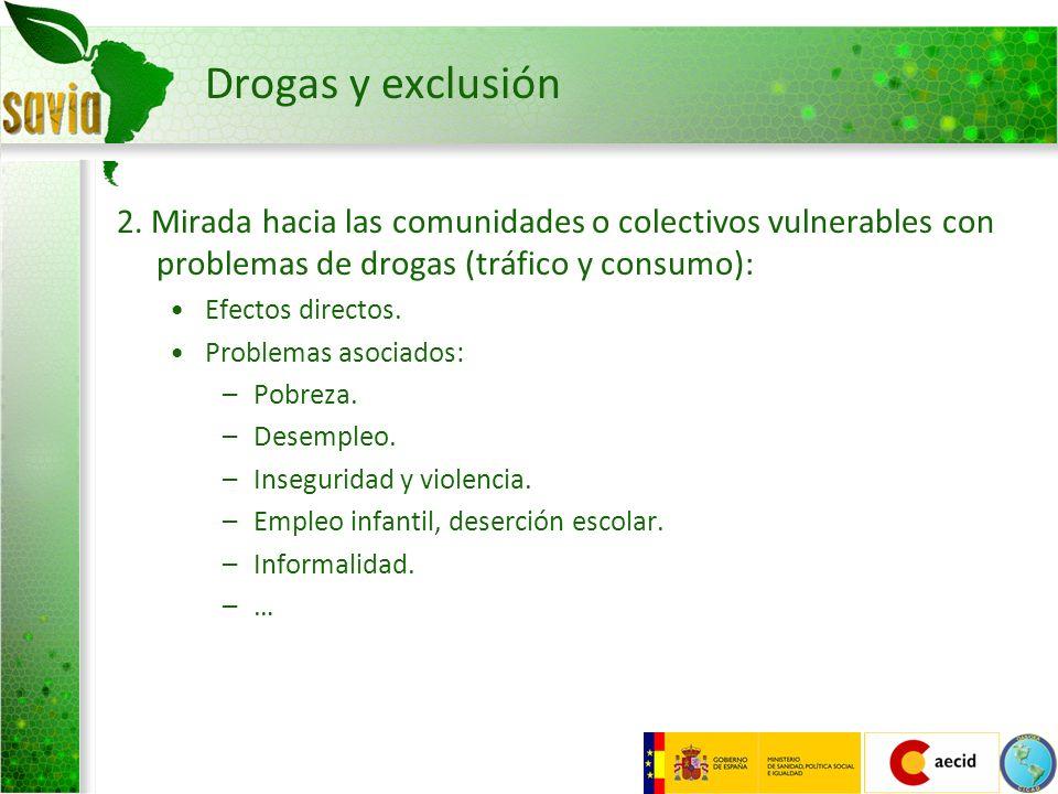 Drogas y exclusión 2. Mirada hacia las comunidades o colectivos vulnerables con problemas de drogas (tráfico y consumo):