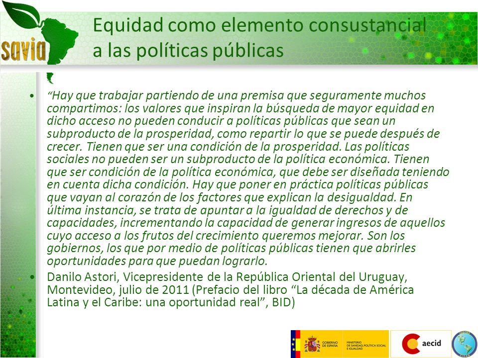 Equidad como elemento consustancial a las políticas públicas