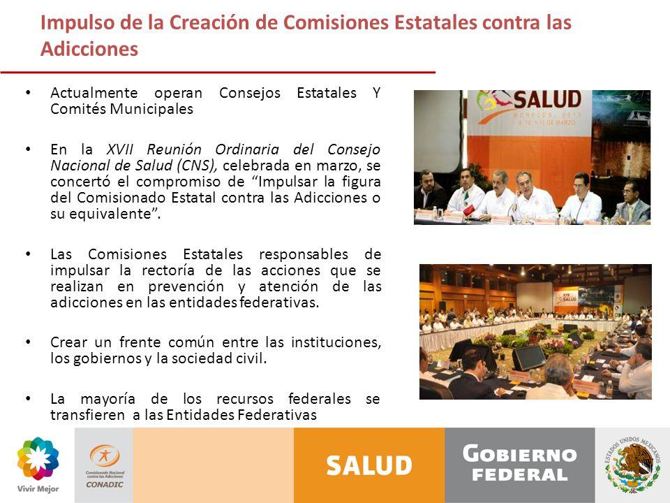 Impulso de la Creación de Comisiones Estatales contra las Adicciones