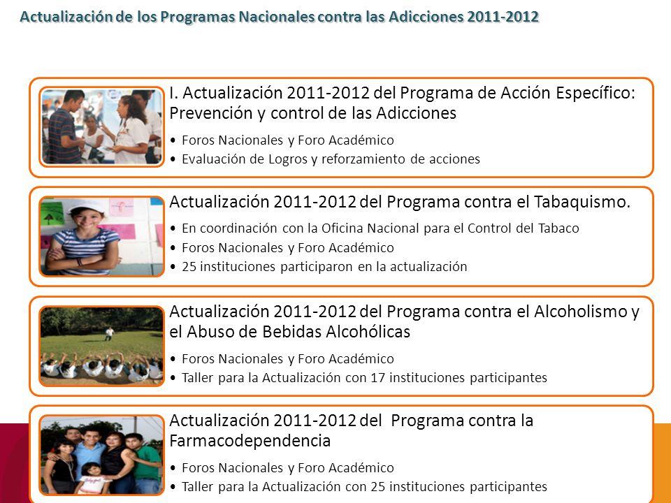 Actualización de los Programas Nacionales contra las Adicciones 2011-2012