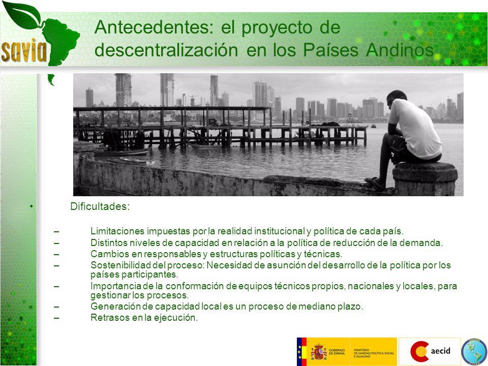 Antecedentes: el proyecto de descentralización en los Países Andinos