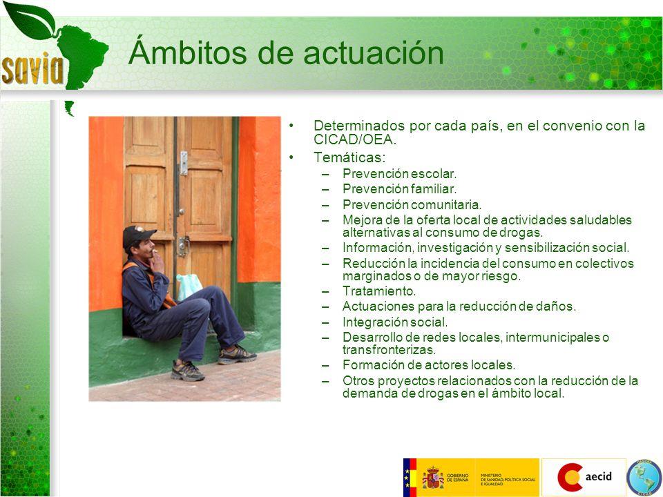 Ámbitos de actuaciónDeterminados por cada país, en el convenio con la CICAD/OEA. Temáticas: Prevención escolar.